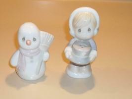Precious Moments Sugar Town 1994 Snowman & Girl Christmas Salt & Pepper ... - $14.99