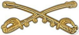 ARMY CAVALRY CROSSED SABERS 2 1/4 X 1  GOLD HAT PIN - $15.33