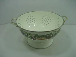 Vintage White Enamel Metal Pedestal Strainer Colander Fruit Design & Bra... - $23.33