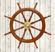 "36"" Nautical Marine Wooden Steering Ship Wheel ~ Pirate Captain Ship Wal... - $98.01"