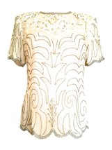 80s Papell Boutique Pure Silk Ivory Cream Off White Scalloped Sequinned ... - $23.00
