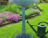 Outdoor Garden Green Pedestal Bird Bath Feeder