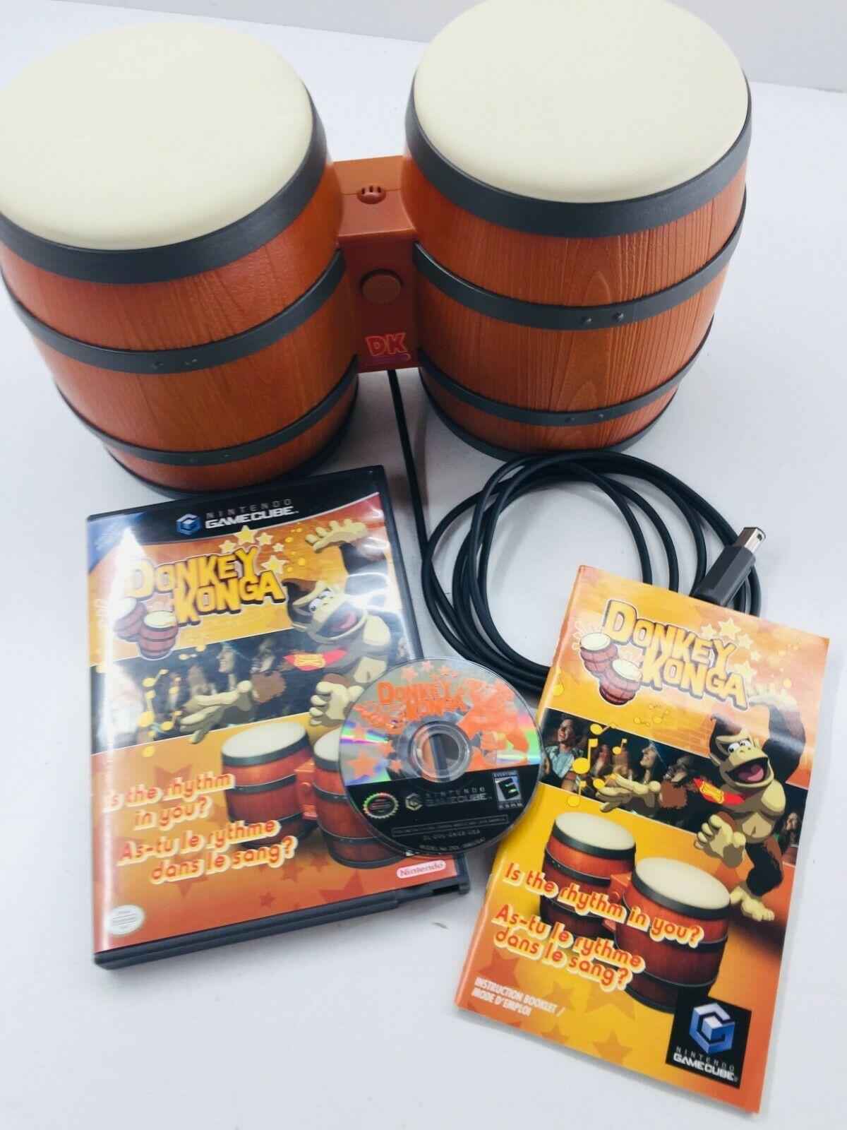 Donkey Konga (Nintendo GameCube, 2004) w/Bongos & Complete Game Bundle Good Cond