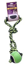 """Nuts For Knots 2 Knot Rope Tug for Dog Toy with Handle and Tennis Ball, 20"""""""