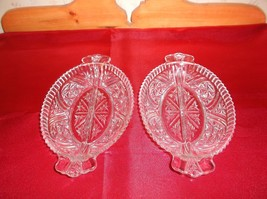 Vintage Pressed Glass Pair of Divided Glass Relish Plates - $14.85