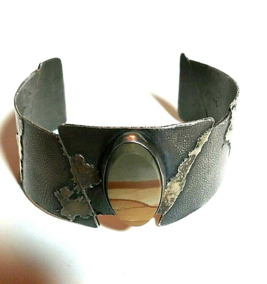 Primary image for LARGE ARTISAN STUDIO STERLING SILVER PICTURE AGATE VINTAGE CUFF BRACELET
