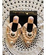 Fernella Jools Earrings Pink Peach Teardrop 3 Inch Dangle Jewelry Designer - $4.26