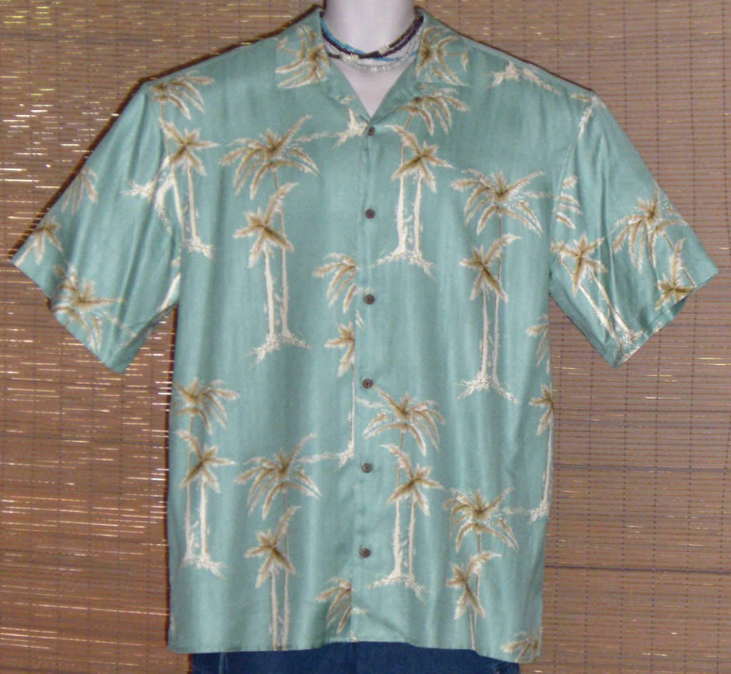 Joseph A Banks Hawaiian Shirt 1960s Green Silk XL