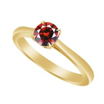 0.50 Cttw Red garnet Yellow Gold Fn 925 Solitaire Engagement Wedding Ring - $79.99