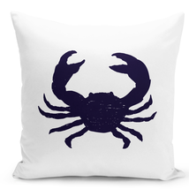 Throw Pillow Crab Sea Life Sea Food Crab Silhouette White Home Pillow 16x16 - $28.49