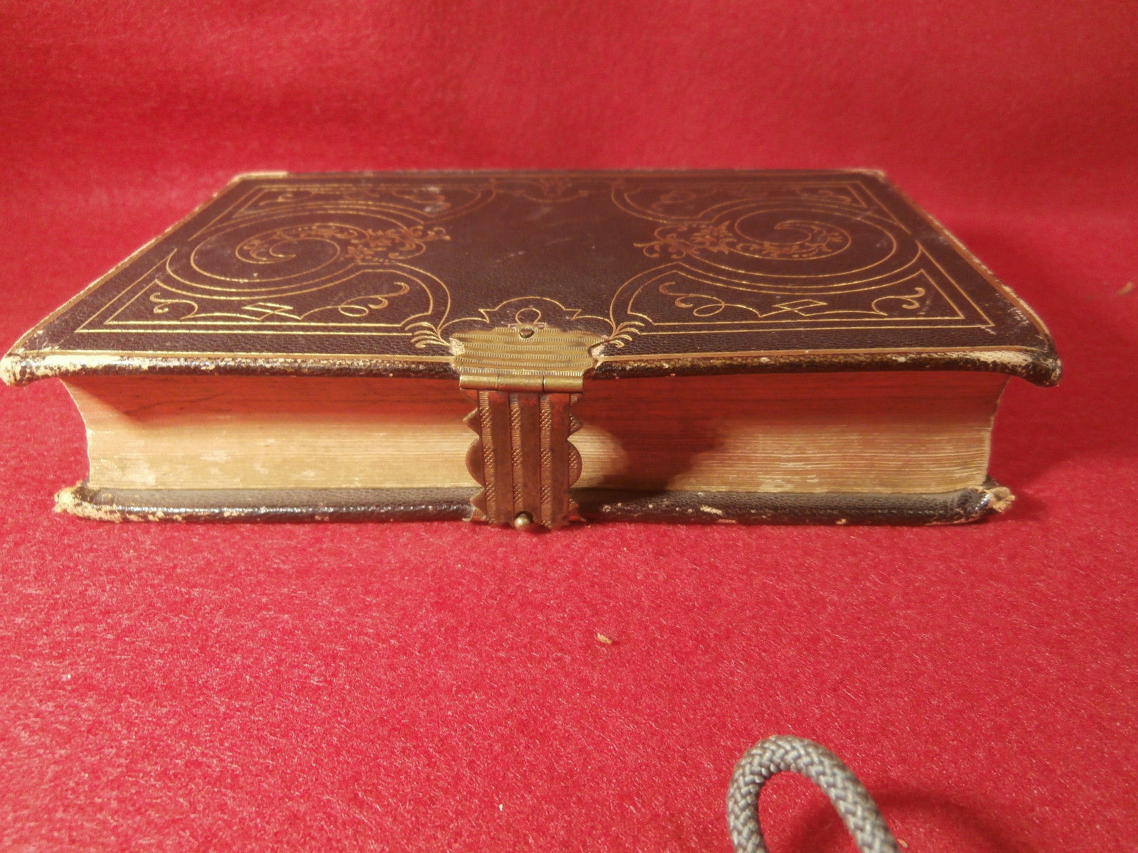 "Antique Leather Bound Book Methodist Hymns 1849 Brown 4 1/4"" X 61/4"" w/ Clasp"