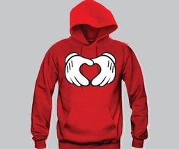 Heart Mickey Hands Unisex Hooded Sweatshirt Funny and Music - $28.00+