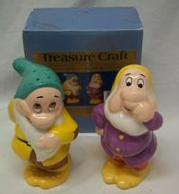 Vintage Walt Disney Snow White Sneezy & Bashful Salt And Pepper Shakers Set New - $39.60
