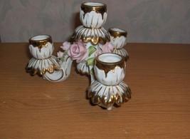 Vintage Lefton China Porcelain 4 Light Candelabra Candlestick Pink Roses Japan - $64.35
