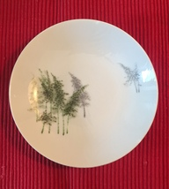 "Gold China 7.5"" bowl with trees (made in occupied Japan)"