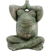 Spiritual Frog in Lotus Pose Mossy Green Volcanic Rock Decorative Garden... - $39.95