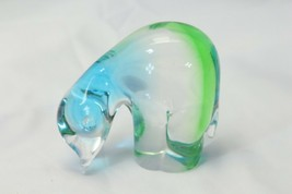 Chalet Art Glass Bear Signed Green Turquoise  Figurine Animal Canada - $122.50