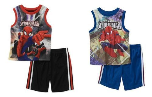 Infant Boy's Spider-Man Short Set Muscle Shirt Top Shorts Ultimate Marvel Baby