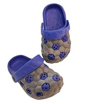 Kids Sandals in/Outdoor Toddler Clogs Shoes/Grey+Blue Football 14.5CM Length