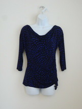 New Michael Kors Black Purple Cowl Neck 3/4 Sleeve Jersey Top Extra Small Xs - $48.49