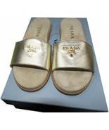 PRADA Gold Saffiano Leather Flat Shoes Slides Sandals 36.5 - $339.00