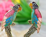 Vintage parrot macaw bird cloisonne enamel earrings colorful clips thumb155 crop