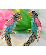 Vintage Parrot Macaw Bird Cloisonne Enamel Earrings Colorful Clips - $15.95