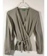 Benetton Women Wrap Sweater Beige V Neck Medium Wool Blend  - $23.96