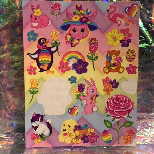 Vintage 90s Lisa Frank Incomplete Fullsize Sticker Sheet Easter Bunnies