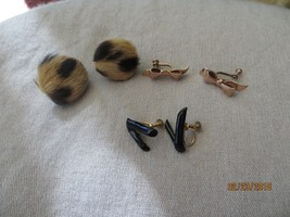 ART DECO Gold Filled Earrings Screw Backs Real Fur/Black Coral/Bow lot o... - $59.99