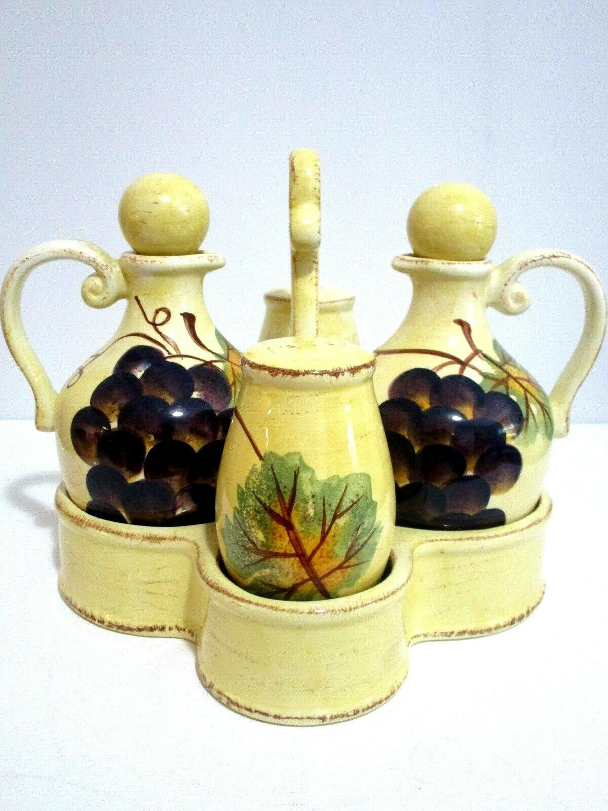 Tabletops Unlimited Vino Hand Painted Collection Provincial Olives Cruet Set 9x8 - $41.58