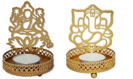 Combo of Ganesha Laxmi Shadow Tealight holder, Spiritual Diwali Gift - $18.95