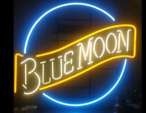 "New Blue Moon Beer Man Cave Real Glass Neon Sign 24""x20"""