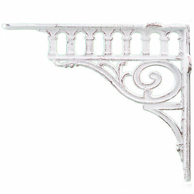 "Primary image for Cast Iron Wall Shelf Bracket Columns Distressed White 11.375"" Deep"