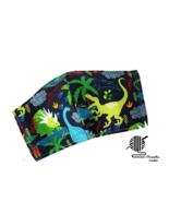 Kids Dinosaur Face Mask T Rex Green Blue Cotton 2 Layer Facemask Handmad... - $10.00