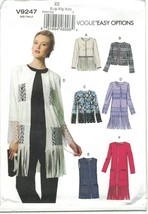 Vogue 9247 Boho Long Fringed Cardigan Jacket & Vest Pattern Choose Size ... - $13.19