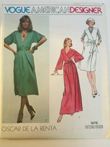 Vogue American Designer Oscar de la Renta Sewing Pattern 1476 Vtg Dress ... - $22.50