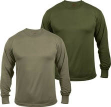 Mens Moisture Wicking Army Solid Long Sleeve Silky Soft T-Shirt - $13.99+