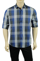 NEW MENS ALFANI REGULAR FIT BUTTON FRONT CONVERTIBLE SLEEVE CHECKED BLUE... - $15.99