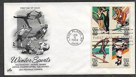 USA 1984 Sc 2070a BLOCK WINTER OLYMPICS Hockey Skiing ICE DANCING ARTCRA... - $0.99