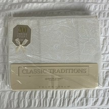 Vtg Classic Traditions Cream Paisley Queen Flat Sheet JCPenney USA Made NEW - $34.64