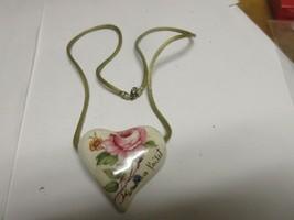 Costume Jewelry , Vintage , Ceramic Heart , Flowers ,Pendant , SANDRA PA... - $49.50