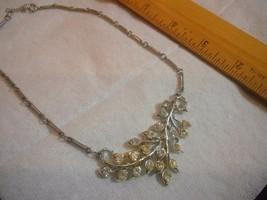"16"" Long Silver Tone Necklace Choker w Clear Light Yellow Rhinestones Coro? - $12.30"