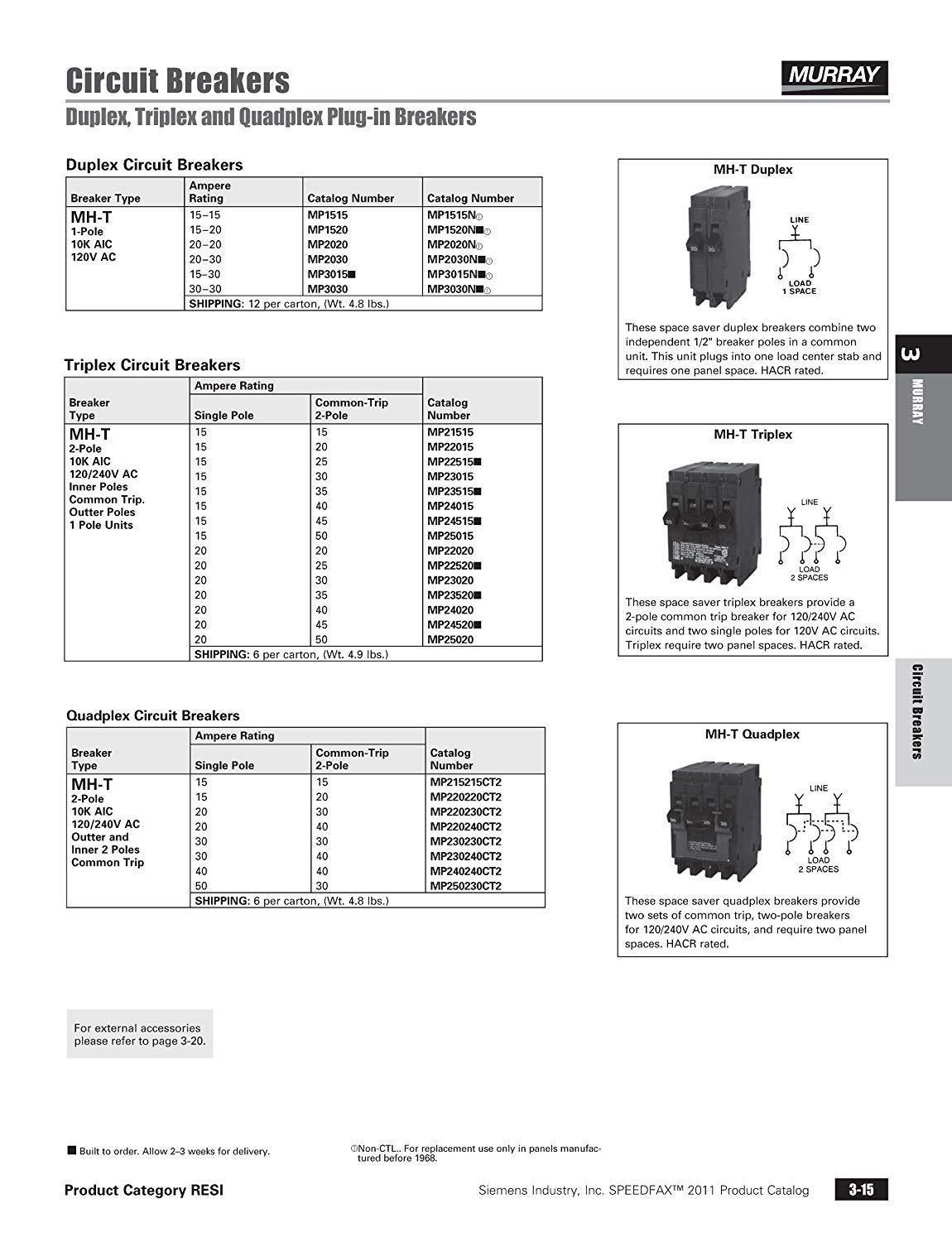 Murray (2) 15 Amp Double-Pole Type MP-T Quad Plug-In Circuit Breaker MP215215CT2