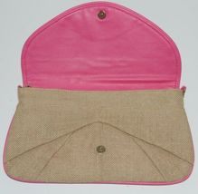 WB B825BHTPK Burlap Clutch Purse Pink Trim Snap Closure image 3