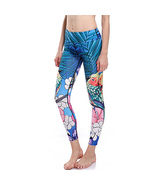 Woman Birds and Florals Quick Dry Yoga Leggings Unisex Fitness Gym Worko... - £10.66 GBP+