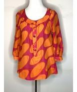 Marimekko H&M Womens Shirt Blouse Top Orange Pink Dots Cotton Silk Sz 4 NWT - $24.95