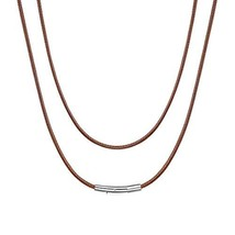ChainsHouse 2mm Wide Men's Brown Braided Leather Necklace Cord with Stai... - $7.63