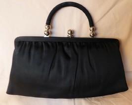 Beautiful Vintage 1960s Black Satin Evening Convertible Clutch Bag Handb... - $45.00