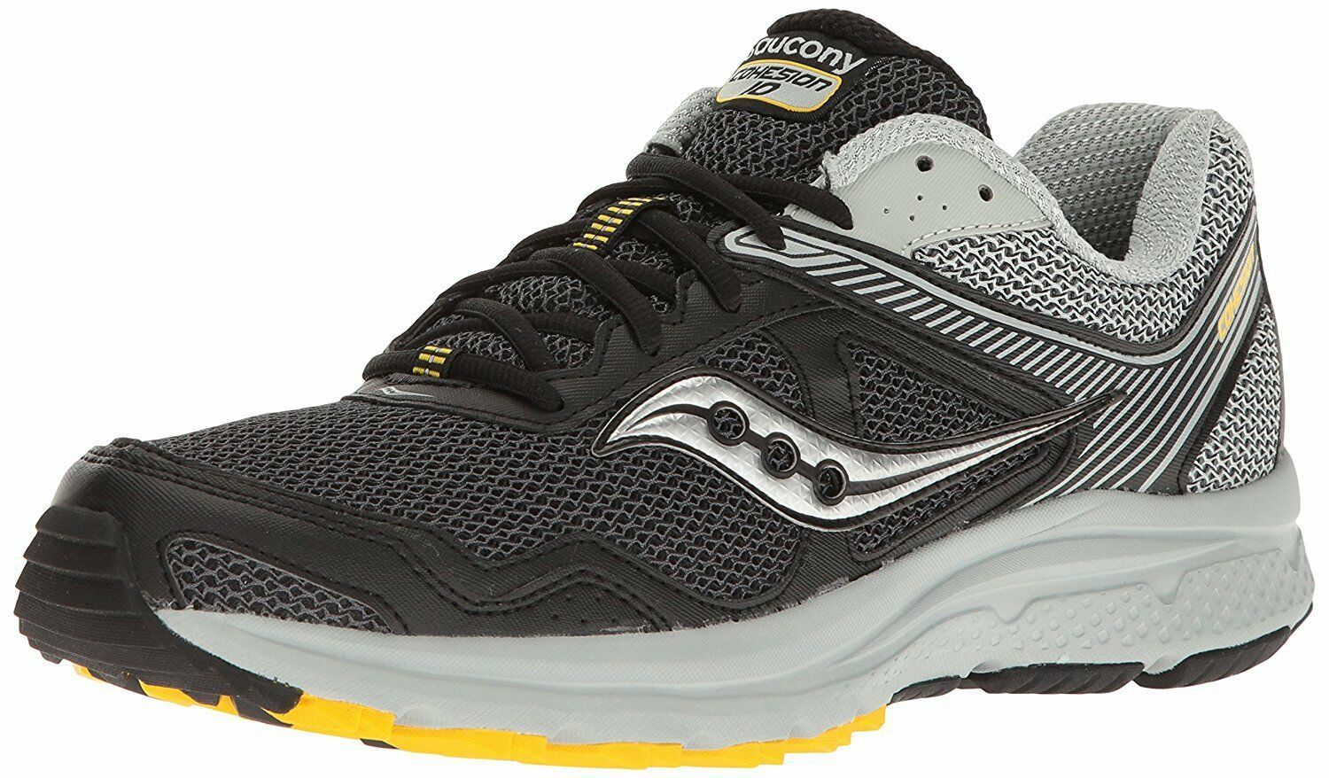 Saucony Men's Black/Grey/Yellow Cohesion 10 Running Runners Shoes Sneaker NIB